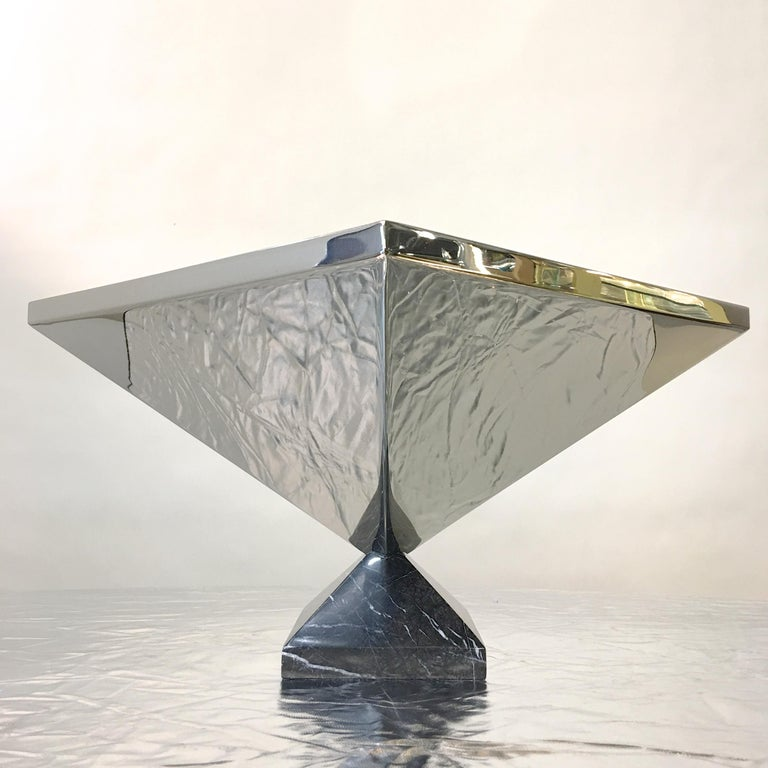 Inverted Pyramid Polished Stainless Centerpiece on Marble Pyramid Base For Sale 3