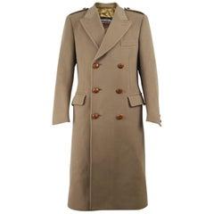 Invertere Men's 1970s Vintage Pure New Wool Beige Double Breasted Overcoat