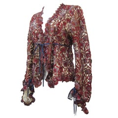 Invest In The Original VOYAGE Lace Cardigan Top England 1990s