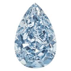 GIA Certified Fancy Intense Blue 0.36 Carat Pear Cut Natural Diamond
