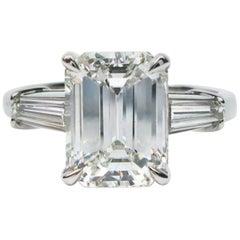 D Color Flawless GIA 1.51 Carat Emerald Cut Diamond Ring