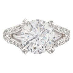 GIA 4 Carat Round Brilliant Cut Diamond Ring VVS1 F Color