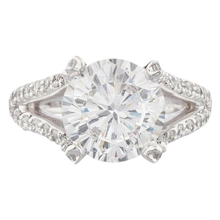 GIA 4 Carat Round Brilliant Cut Diamond Ring VVS1 F Color For Sale