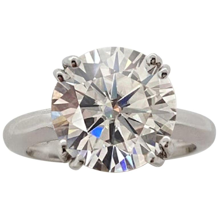 FLAWLESS GIA 4 Carat Round Brilliant Cut Diamond Ring Triple Excellent Cut