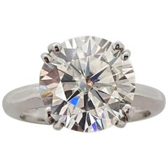 FLAWLESS GIA 6 Carat Round Brilliant Cut Diamond Ring Triple Excellent Cut