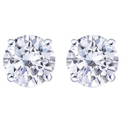 Investment Grade Flawless D Color GIA Certified 2 Carat Diamond Studs