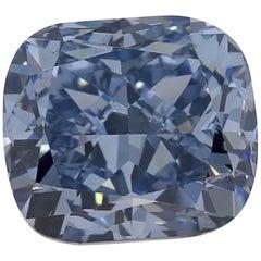 GIA 1.14 Carat Fancy Deep Blue Cushion Diamond