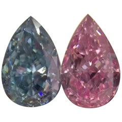 Investment Grade Gia 2 Pear Cut Blue and Pink Diamonds