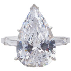 GIA 5.55 Carat Pear Cut Solitaire Engagement  Diamond Ring