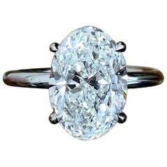 GIA Certified 10 Carat D Color VVS Clarity Oval Diamond Ring