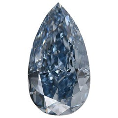 Investment Grade GIA Certified 1.01 Carat Fancy Vivid Blue Pear Cut Diamond VS