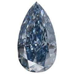 GIA Certified 1.01 Carat Fancy Vivid Blue Pear Cut Diamond VS