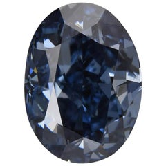 Investment Grade GIA Fancy Vivid Blue Oval Diamond 1.02 Carat