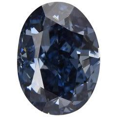 GIA Fancy Vivid Blue Oval Diamond 1.02 Carat
