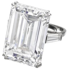 GIA 10.50 Carat VVS1 Clarity D Color Emerald Cut Diamond Ring Plat