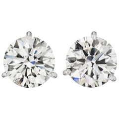 Flawless D Color GIA 5 Carat Round Diamond Studs