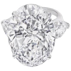 FLAWLESS D Color GIA Certified 5.50 Carat Oval Diamond Ring Triple Excellent Cut