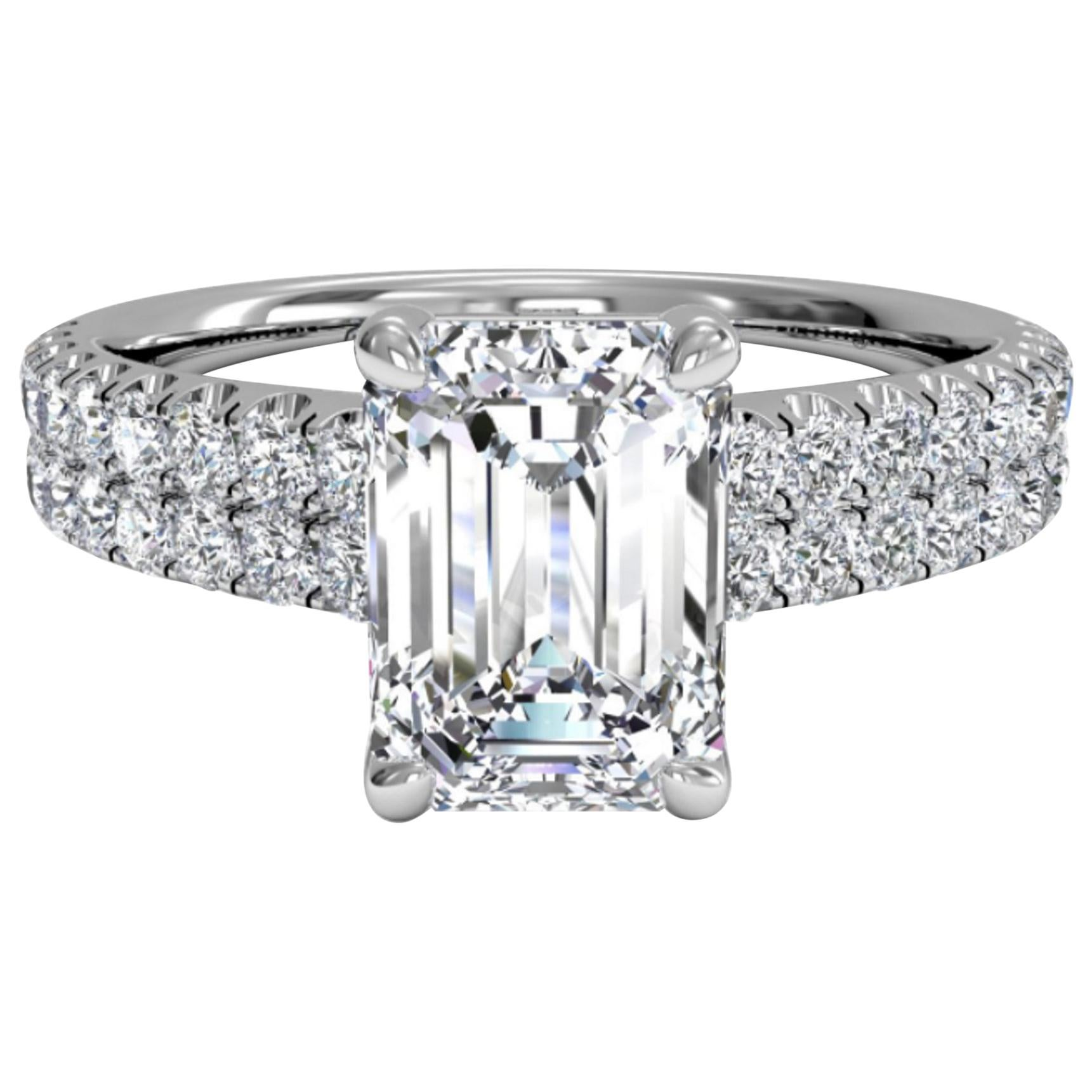 GIA Certified 3 Carat Emerald Cut Diamond Pave Ring VVS1 Clarity G Color