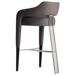 Invicta Bar Stool with Stainless Steel Back Foot