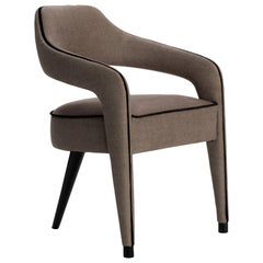 Invicta Dining Chair with One Back Foot in Wood and Piping Details