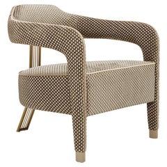 INVICTA II Armchair with Antique Brass Rear Leg