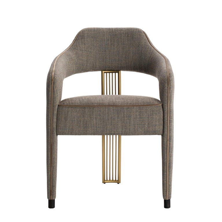 Modern Invicta II Dining Chair with Metal Gilded Back Leg For Sale