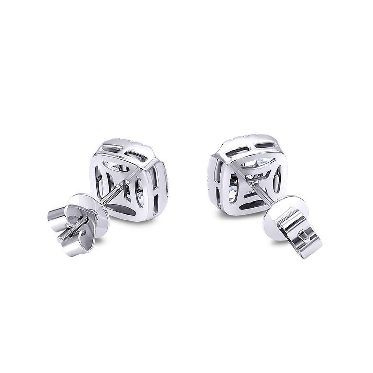 Round Cut Invisible 2.0 Carat White Gold Diamond Earrings / Studs  For Sale