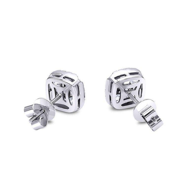 Invisible 2.0 Carat White Gold Diamond Earrings / Studs  In New Condition For Sale In Little Neck, NY