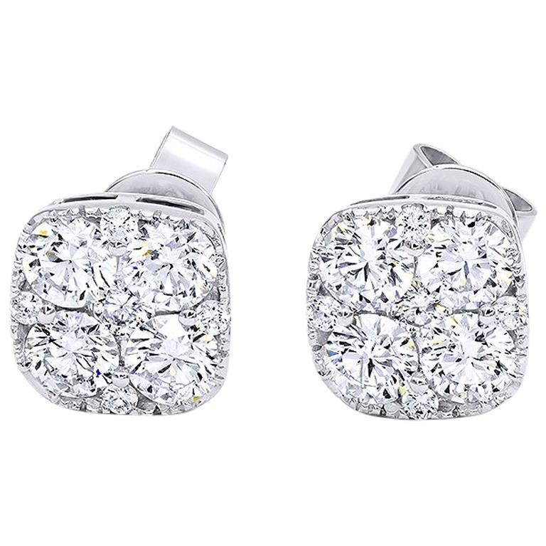Invisible 2.0 Carat White Gold Diamond Earrings / Studs  For Sale