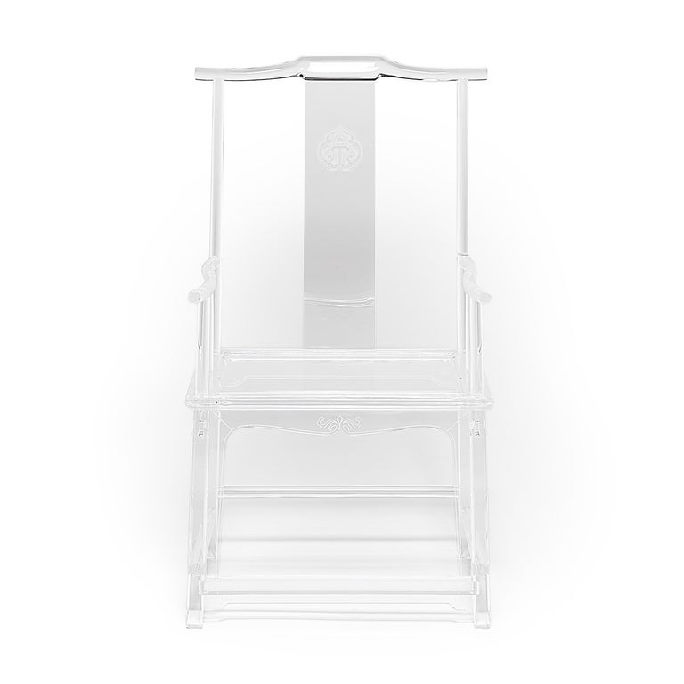 Each limited-edition signed Invisible Administrator's chair by artist July Zhou is fashioned after a traditional Ming example. Though most Lucite furniture is injection molded, July's work is created by skilled artisans who heat, join, bend, carve,