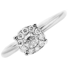 Invisible Diamond Solitaire Ring .57 Carat White Gold