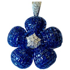 Invisible Mystery Set Sapphire Diamond Flower Brooch and Pendant