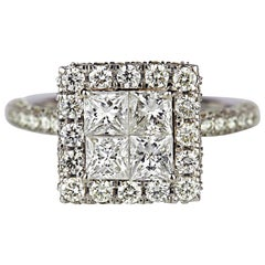 Invisible Princess Cut 2.59 Carat Diamond Studded Ring 18K Gold Weighing 5.17gms