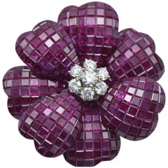 Invisible Ruby and Diamond Flower Brooch