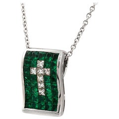 Invisible Set 0.73 CT Diamonds 2.66 CT Colombian Emerald 14K Gold Cross Necklace