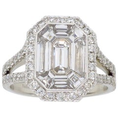 Invisible Set 2.00 Carat Emerald Cut Diamond Engagement Ring
