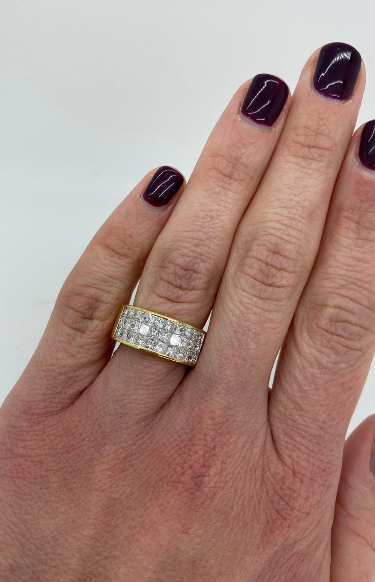 Invisible Set 3.05 Carat Princess Cut Diamond Band in 18 Karat Yellow Gold In Excellent Condition For Sale In Webster, NY