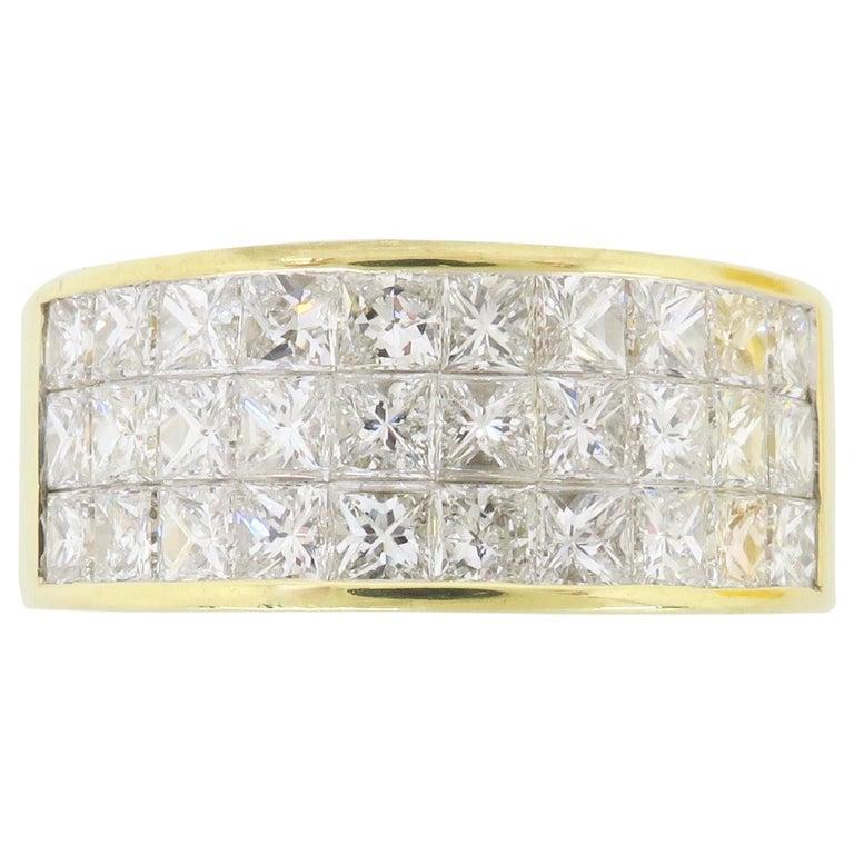 Invisible Set 3.05 Carat Princess Cut Diamond Band in 18 Karat Yellow Gold For Sale