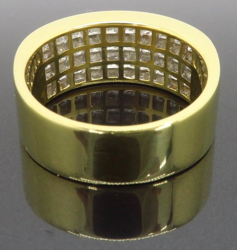 Invisible Set 3.05 Carat Princess Cut Diamond Band in 18 Karat Yellow Gold For Sale 6
