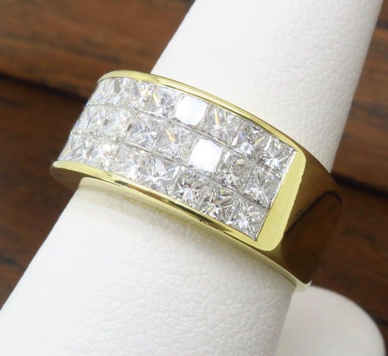 Invisible Set 3.05 Carat Princess Cut Diamond Band in 18 Karat Yellow Gold For Sale 8