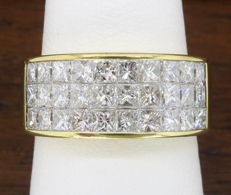 Invisible Set 3.05 Carat Princess Cut Diamond Band in 18 Karat Yellow Gold For Sale 9