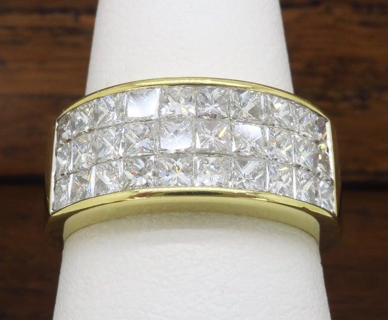 Invisible Set 3.05 Carat Princess Cut Diamond Band in 18 Karat Yellow Gold For Sale 10
