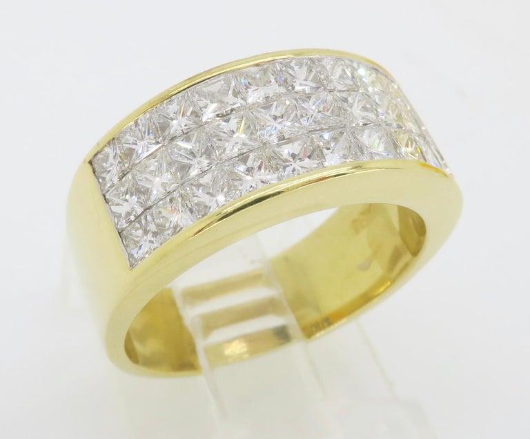 Invisible Set 3.05 Carat Princess Cut Diamond Band in 18 Karat Yellow Gold For Sale 11