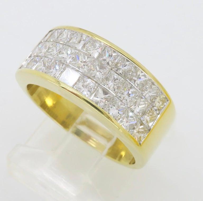 Invisible Set 3.05 Carat Princess Cut Diamond Band in 18 Karat Yellow Gold For Sale 12