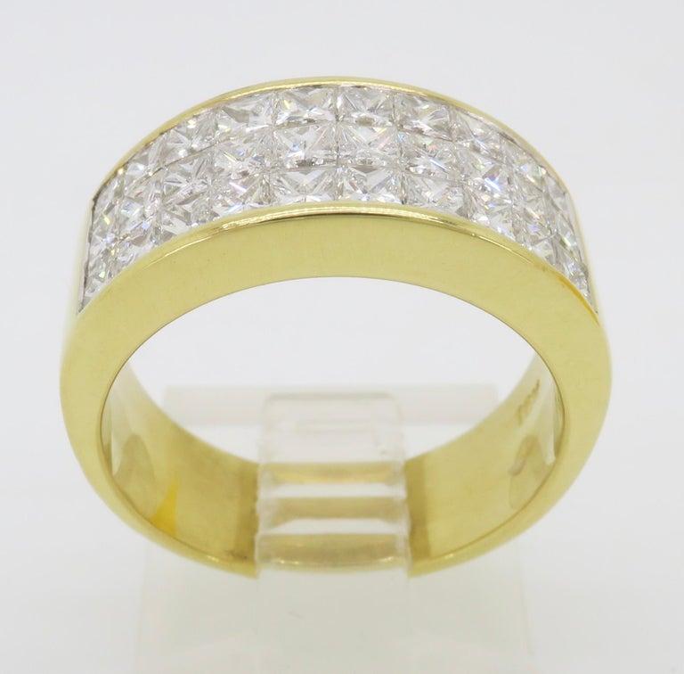 Invisible Set 3.05 Carat Princess Cut Diamond Band in 18 Karat Yellow Gold For Sale 13