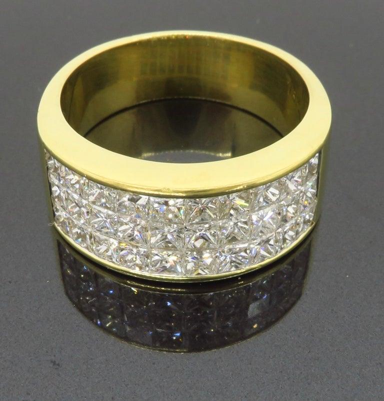 Women's or Men's Invisible Set 3.05 Carat Princess Cut Diamond Band in 18 Karat Yellow Gold For Sale