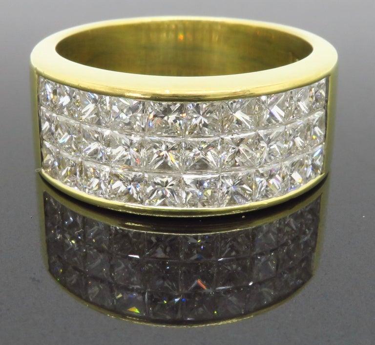 Invisible Set 3.05 Carat Princess Cut Diamond Band in 18 Karat Yellow Gold For Sale 1