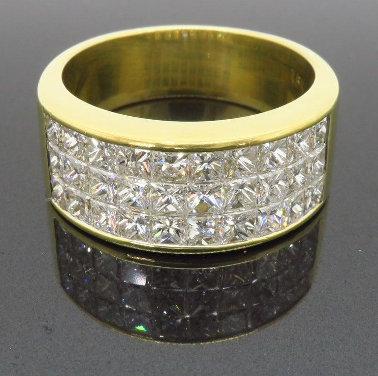 Invisible Set 3.05 Carat Princess Cut Diamond Band in 18 Karat Yellow Gold For Sale 2