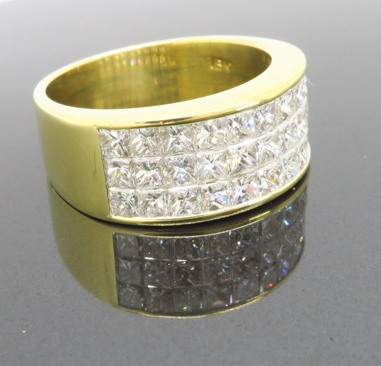 Invisible Set 3.05 Carat Princess Cut Diamond Band in 18 Karat Yellow Gold For Sale 4