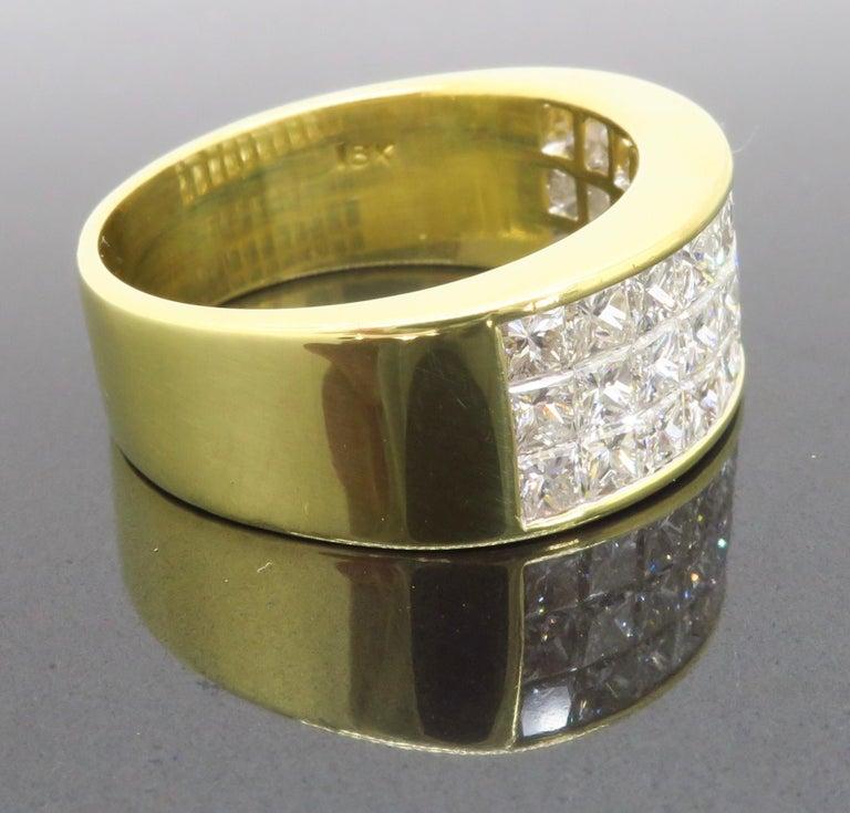 Invisible Set 3.05 Carat Princess Cut Diamond Band in 18 Karat Yellow Gold For Sale 5